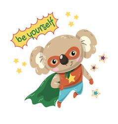 Cute little koala flying super hero with green vector