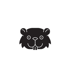cute mouse head black concept icon cut vector image
