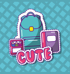 cute school backpack notebook crayons color vector image