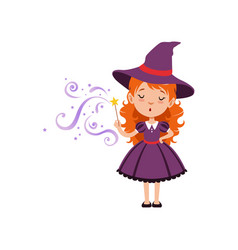 Cute small witch casts a spell with the magic wand vector