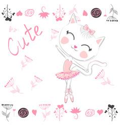 cute white cartoon cat in ballet tutu kitty girl vector image