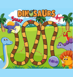 Dinosaur board game template vector