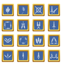ear corn icons set blue square vector image