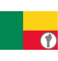 flag and map benin vector image