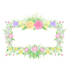floral frame water color template vector image