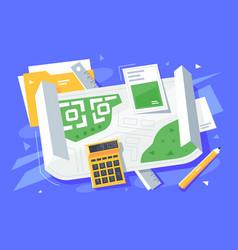 Folder calculator ruler and pencil on table vector