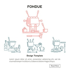 Fondue Set icons vector