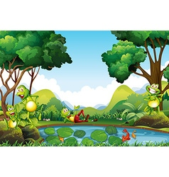 Frogs living by the pond vector