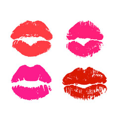 glamour red and pink lipstick kiss prints vector image