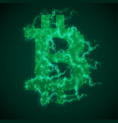 Green bitcoin symbol constructed with vector