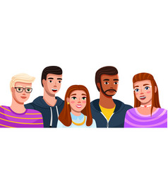 Group fashion cartoon young people teenagers vector