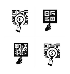 Hand and zoom qr code icon vector