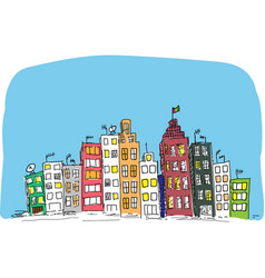 Hand drawn cityscape sketch vector