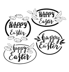 Hand written Happy Easter phrases Greeting card vector image