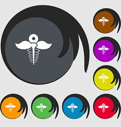 Health care icon sign Symbols on eight colored vector