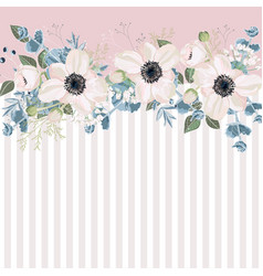 horizontal striped pattern with white anemones vector image