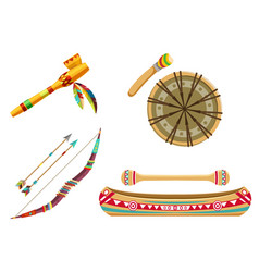 indian tribal symbols or thematic icons set vector image