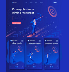 isometric businessman aiming at target vector image
