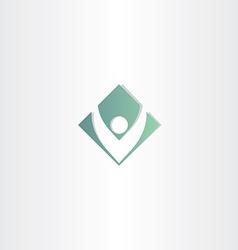 letter v man green square symbol vector image