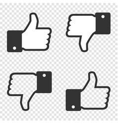 like icon set of like and dislike icon on vector image