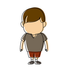 Little young boy standing on white background vector