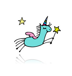 Magic unicorn sketch for your design vector