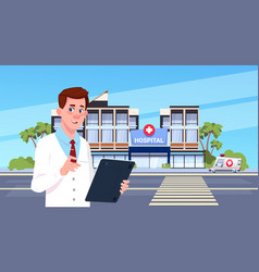 male doctor standing over modern hospital building vector image