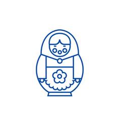 matryoshka line icon concept matryoshka flat vector image