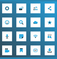 Media icons colored set with video chat gif vector