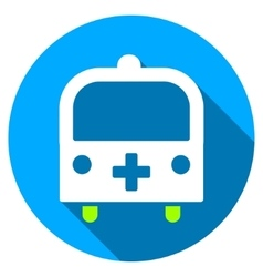 Medical Bus Flat Round Icon with Long Shadow vector