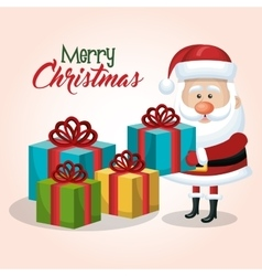 merry christmas santa claus with many gift graphic vector image