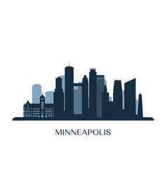 minneapolis skyline monochrome silhouette vector image