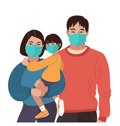 Mother father daughter wear medical masks virus vector