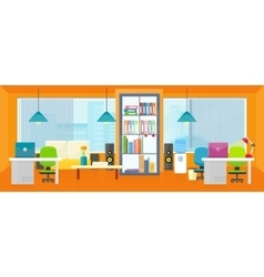 Office Interior Background in Flat vector
