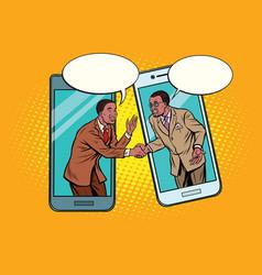 Online talks two businessmen vector