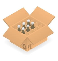 Open cardboard box with bottles inside vector image