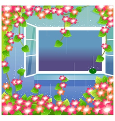 Opened window with flowers vector
