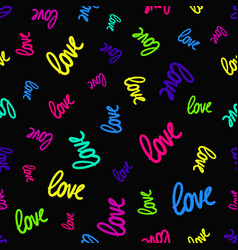 pattern randomly scattered colorful love words vector image