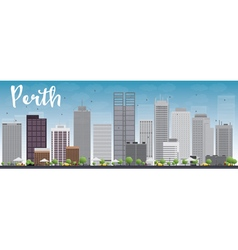 Perth skyline with grey buildings vector