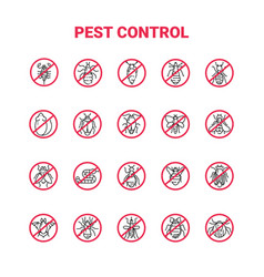 Pest control icon set in linear style vector