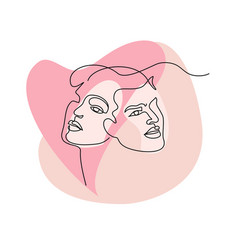 Portrait couple man and woman in love kissing vector
