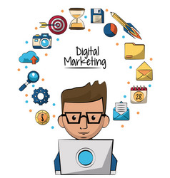 Poster of digital marketing with man working in vector
