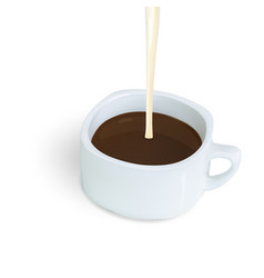 Pouring condensed milk into coffee or coco drink vector