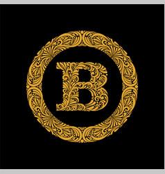 premium elegant capital letter b in a round frame vector image