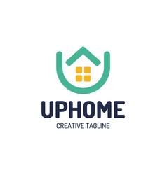Real estate house logo top arrow up house vector