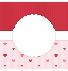 Red and pink stripped card template with hearts vector