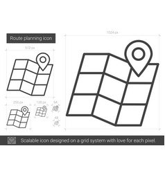 route planning line icon vector image