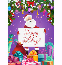 santa with greeting signboard and christmas gifts vector image