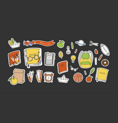 schooltime stickers vector image