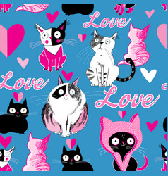 Seamless pattern cats in love vector